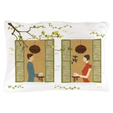 Man and woman drinking coffee view fro Pillow Case