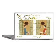 Man and woman drinking coffee view fr Laptop Skins