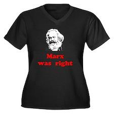 Marx was rig Women's Plus Size Dark V-Neck T-Shirt