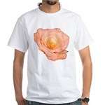 Peach Rose White T-Shirt