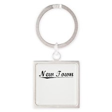 New Town, Vintage Square Keychain