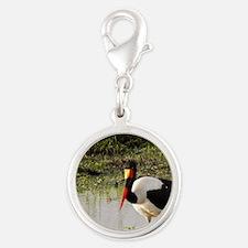 saddle billed stork kenya coll Silver Round Charm