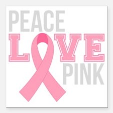"Peace Love Pink Square Car Magnet 3"" x 3"""