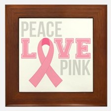 Peace Love Pink Framed Tile