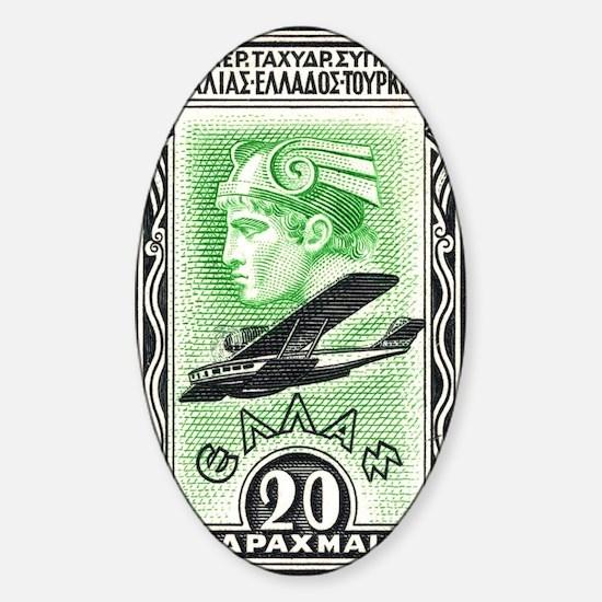 1933 Greece Head of Hermes Aviation Sticker (Oval)