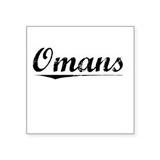 "Omans, Vintage Square Sticker 3"" x 3"""