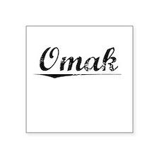 "Omak, Vintage Square Sticker 3"" x 3"""