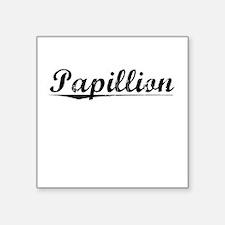 """Papillion, Vintage Square Sticker 3"""" x 3"""""""