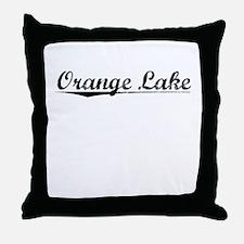 Orange Lake, Vintage Throw Pillow