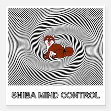 "Shiba Mind Control Square Car Magnet 3"" x 3"""