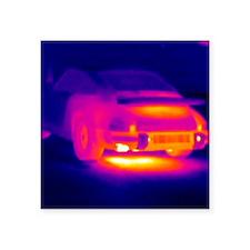 "Porsche car, thermogram Square Sticker 3"" x 3"""