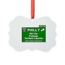 I95 INTERSTATE EXIT SIGN - PHILAD Ornament