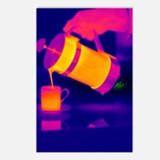 Pouring coffee, thermogra Postcards (Package of 8)