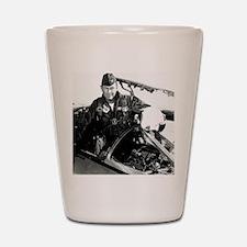 Portrait of Charles Chuck Yeager, Ameri Shot Glass