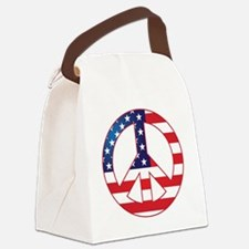 American Flag Peace Sign Canvas Lunch Bag
