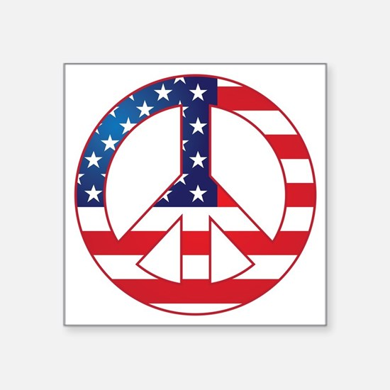 "American Flag Peace Sign Square Sticker 3"" x 3"""