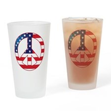 American Flag Peace Sign Drinking Glass