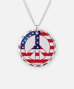 American Flag Peace Sign Necklace