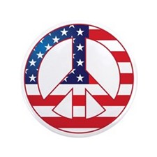 "American Flag Peace Sign 3.5"" Button"