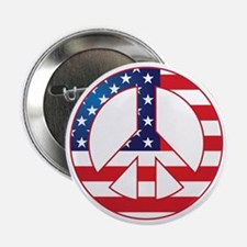 """American Flag Peace Sign 2.25"""" Button"""