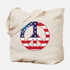 American Flag Peace Sign Tote Bag