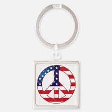 American Flag Peace Sign Square Keychain