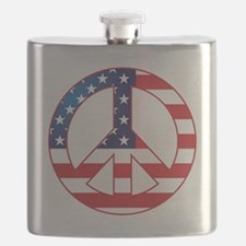 American Flag Peace Sign Flask