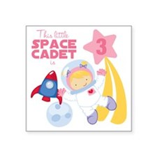 """Girl Astronaut is 3 Square Sticker 3"""" x 3"""""""