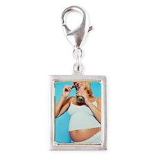 Pregnant woman Silver Portrait Charm