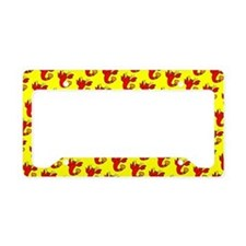 Cute Cheeky Lobster Red Yello License Plate Holder