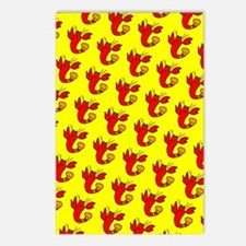 Yellow Red Cute Lobster D Postcards (Package of 8)