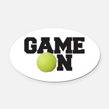 Game On Tennis Oval Car Magnet