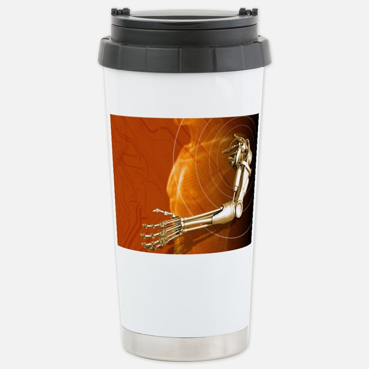 Prosthetic robotic arm, compute Travel Mug