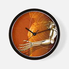Prosthetic robotic arm, computer artwor Wall Clock