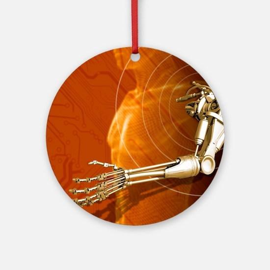 Prosthetic robotic arm, computer ar Round Ornament