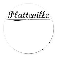 Platteville, Vintage Round Car Magnet