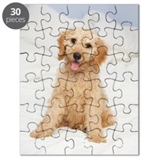 Labradoodle puppy on bed Puzzle