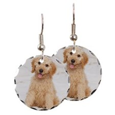 Labradoodle puppy on bed Earring