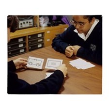 Pupils learning about circuits Throw Blanket