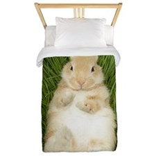 Rabbit laying in grass Twin Duvet