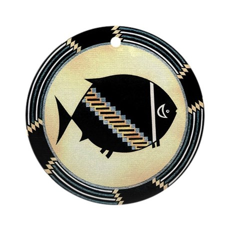 MIMBRES SPINNING FISH BOWL DESIGN Ornament (Round)