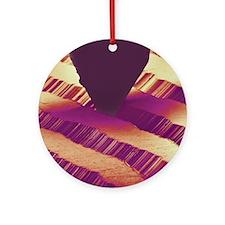 Record stylus playing record, SEM Round Ornament