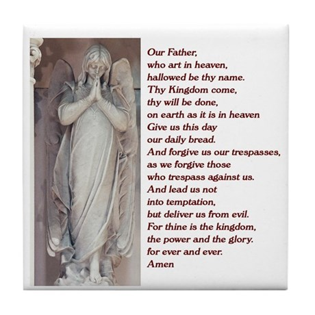 Lord's Prayer and angel Tile Coaster