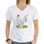 White d'Uccle Rooster Women's V-Neck T-Shirt
