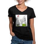 White d'Uccle Rooster Women's V-Neck Dark T-Shirt