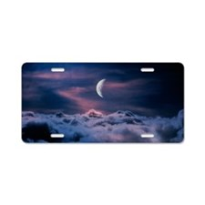 Moon above the clouds Aluminum License Plate