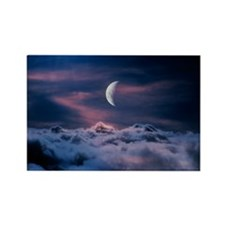 Moon above the clouds Rectangle Magnet