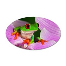 Red-eyed tree frog on flower Wall Decal