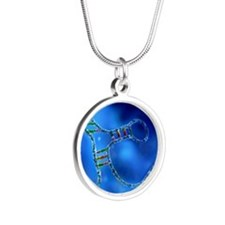 RNA interference, computer a Silver Round Necklace