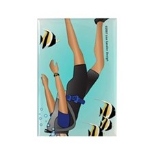 Scuba man blonde ornament Rectangle Magnet